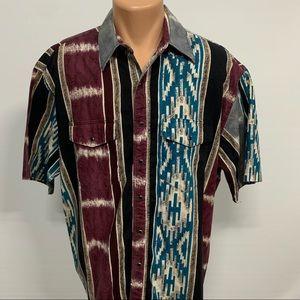 Vintage Wrangler Aztec Pearl Snap Button Down